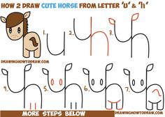 How to Draw a Cute Kawaii / Chibi Horse from Letters and Simple Shapes - Easy Step by Step Drawing Tutorial for Kids