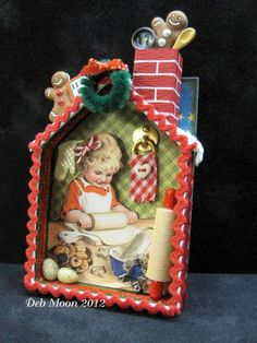 Shadowbox Ornament / too adorable...like the gingerbreadman & utensils coming out of the chimney