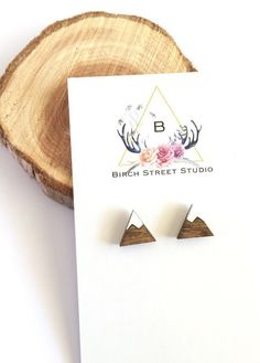 Mountain Earrings Tiny Mountain Studs by BirchStreetStudio15