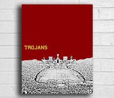 USC Trojans sports decor wall art football Print 8x10 or 12x16. $15.00, via Etsy.
