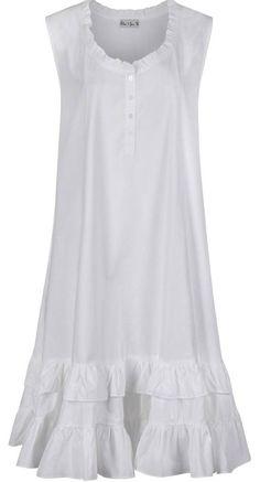 White 100% Cotton Nightdress Vintage Style Ladies Nightgown Layla S-XXL
