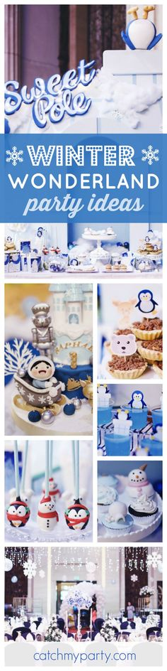 Come in from the cold and be mesmerized by this spectacular Winter Onderland 1st Birthday party! The cake pops are adorable!! See more party ideas and share yours at CatchMyParty.com