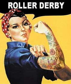 Rosie the riveter roller derby pinup Johnny Cash Tattoo, Derby Names, Roller Derby Girls, City Roller, Track Roller, Rosie The Riveter, We Can Do It, Roller Skating, Up Girl