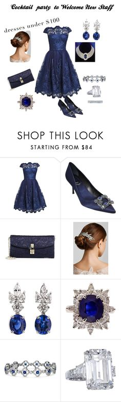 """Cocktail party to welcome new staff"" by hshprincessgebevieve ❤ liked on Polyvore featuring Roger Vivier, Dolce&Gabbana, Jennifer Behr, Blue Nile, Tacori, contest and under100"
