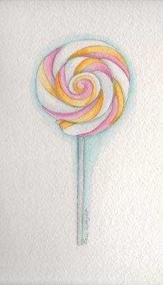 Lollipop watercolor by Rose Wright