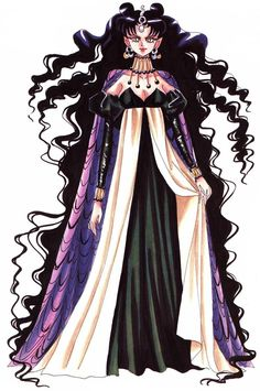 """Character design sheet for villain Queen Nehelenia from """"Sailor Moon"""" series by manga artist Naoko Takeuchi. I've always loved the design of Nehelenia. Her hair and dress are gorgeous. Sailor Saturn, Sailor Moon Manga, Sailor Moon Art, Sailor Moon Crystal, Sailor Venus, Sailor Mars, Sailor Moon Personajes, Sailor Moon Villains, Naoko Takeuchi"""
