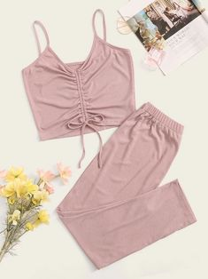 To find out about the Ruched Knot Detail Cami & Pants PJ Set at SHEIN, part of our latest Pajama Sets ready to shop online today! Pajama Outfits, Lazy Outfits, Cute Casual Outfits, Girl Outfits, Cute Pajama Sets, Cute Pajamas, Pj Sets, Cute Sleepwear, Sleepwear Women