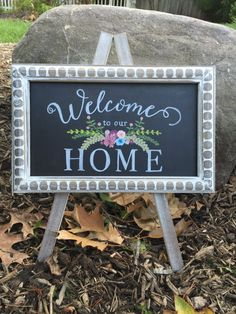 Welcome to our Home Hand Painted Custom Tabletop Chalkboard Easel by TimberAndType on Etsy