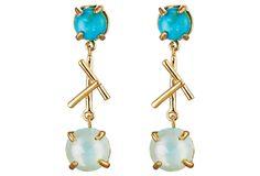 Turquoise & Chalcedony Stick Earrings | Hazel Smyth #HazelSmyth #Sticks Collection