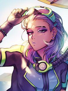 Sombra - More at https://pinterest.com/supergirlsart #overwatch #summer #games #summergames #scuba #fanart