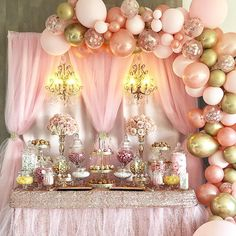 Pink and gold birthday dessert table- beautiful dessert table in pink . - Pink and Gold Birthday Dessert Table- Beautiful Pink and Gold Dessert Table by - Sweet 16 Decorations, Quince Decorations, Quinceanera Decorations, Girl Baby Shower Decorations, Quinceanera Party, Birthday Decorations, Rose Gold Party Decorations, Princess Party Decorations, Gold Dessert Table