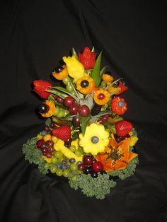 Fruit and Vegetable carving. Artistic platter and edible bouquet arrangements. Edible Bouquets, Edible Flowers, Low Calorie Drinks, Fruit And Vegetable Carving, Fruit Arrangements, Fruits And Vegetables, Party Planning, Bridal Shower, Brunch