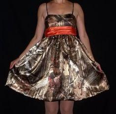 Satin Camouflage Dress with Orange Sash | Ladymantis - Clothing on ArtFire.... Like this!!! I'm gonna make one!