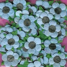 Mulberry Paper Flower Heads - Blue