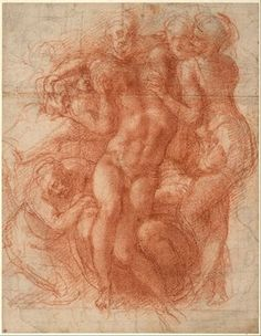 Michelangelo Buonarroti, Lamentation (recto), c. 1530 Red chalk, partly over a preliminary drawing in black chalk,circa 1530 Albertina Vienna