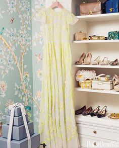 """""""At home I'm surrounded by men, so I desperately needed a place that was all mine. My dressing room is the most feminine space in my house. My grandmother had the same wallpaper in her office, so it always makes me think of her."""" —Aerin Lauder, Founder Aerin"""