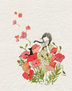 children illustration flowers and music Cute Illustration, Watercolor Illustration, Watercolor Paintings, Whimsical Art, Cat Art, Cute Drawings, Art Girl, Illustrators, Artsy