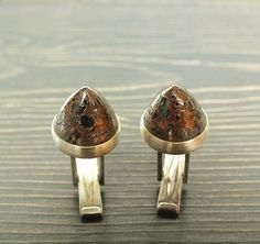 Copper Fire Brick and Sterling Silver Oxidized Brushed Cufflinks Cuff Links James Blanchard on Etsy, $175.00