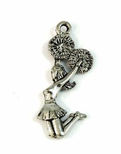 Cheerleader Silver Pewter Charm -1