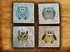 owl coaster four set natural stone retro Tumbled bird coaster by Vegacity