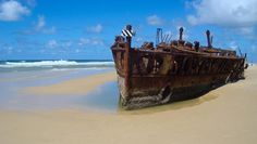Photo of the Day - #Shipwreck on #Fraser #Island - #Fraser #Island, #Australia - While touring #Fraser #Island, you use the beaches as the highway and on that highway, you'll run into this large rusted out ship. The #ship is and was the S.S. Maheno and it landed here thanks to a cyclone in 1935. The #ship actually used to be a luxury passenger liner – can you imagine? Photo from #absolutevisit at www.absolutevisit.com - all images Creative Commons Noncommercial