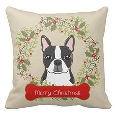 Boston Terrier | Christmas | Throw Pillow | Home Décor | Vintage A must have #holidayHomeDecor for the #BostonTerrier home.  #MerryChristmas