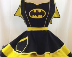 Home of the Original Costume Aprons & Kitchen Couture! by SassyFrasCollection Girls Cape, Hero Crafts, Under The Skirt, Retro Apron, Sewing Aprons, Yellow Fabric, Kona Cotton, Bat Girl, Couture