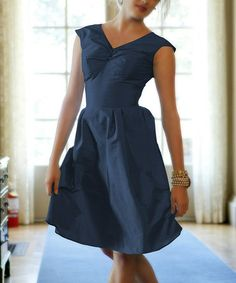Loving this Navy Lily V-Neck Dress on #zulily! #zulilyfinds