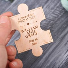Modern Save the Date Puzzle wood save the date magnet - 60pcs