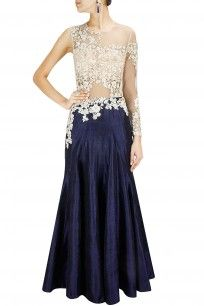 Navy blue and beige embroidered sheer gown