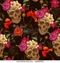 Skull and Flowers Seamless Background by Depiano, via Shutterstock