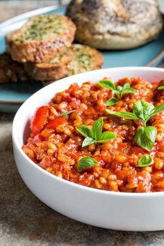 Delicious one pan light but filling summer dish! Crammed with tomato flavour and 'hidden' veggies this is super easy comfort food. Vegan and gluten free. Vegetarian Recipes, Cooking Recipes, Healthy Recipes, Cooking Pasta, Cooking Fish, Cooking Pork, Healthy Dishes, How To Cook Barley, Barley Risotto