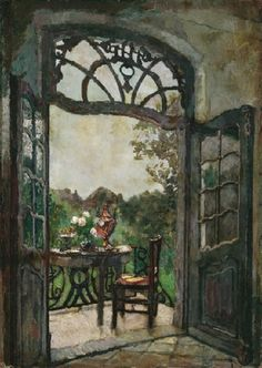 Veranda overlooking the garden in the summer, August Von Brandis. Germany (1862 - 1947)
