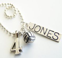 PICK THREE Charm Bead OR Stamped Name Tag plus a Chain by BusyBree, $16.00 Volleyball Jewelry, Volleyball Inspiration, Polo Team, Scarf Necklace, Personalized Charms, Funny Coffee Mugs, Diva Fashion, Stamped Jewelry, Volleyball Quotes