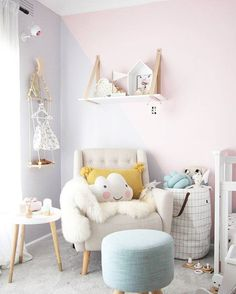 Pretty pastel spring inspired nursery decor ideas - Get pastel nursery insporation from these pretty kids rooms, with sweet colour palettes and more! Baby Bedroom, Baby Room Decor, Nursery Room, Girls Bedroom, Nursery Decor, Bedroom Wall, Bedrooms, Girl Nursery, Nursery Ideas