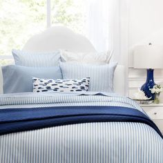 Shop this striped duvet cover from Crane & Canopy. The Larkin Grey duvet cover, complete with modern stripes and a coastal hue, looks chic and feels soft. Blue Duvet, Striped Bedding, Blue Bedding, Blue And White Bedding, Blue Comforter Sets, Orange Bedding, White Duvet, Luxury Sheets, Luxury Bedding Sets