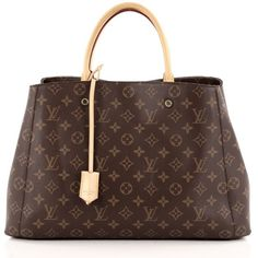 Pre-Owned Louis Vuitton Montaigne Handbag Monogram Canvas GM ($1,780) ❤ liked on Polyvore featuring bags, handbags, tote bags, brown, handbags totes, tote purses, monogram canvas tote, brown tote and canvas tote bags