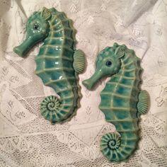 Aqua Seahorses by MerryBeeCottage on Etsy