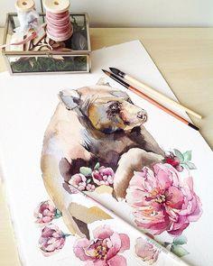 Мииииша #misha_illustration#illustration#bear#animals#flowers#watercolor#watercolour#waterblog#aquarelle#акварель#цветы#иллюстрация#draw#drawing#paint#painting#art#artist#art_we_inspire#topcreator#artgallery#arts_help#instaart#watercolorpainting