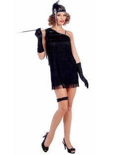 The Women's Sexy Black Diamond Dazzle Flapper Costume is the perfect flapper outfit for 20's themed parties.