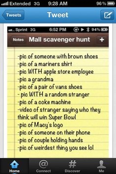 Scavenger hunt idea... ~would have to change it up for our area