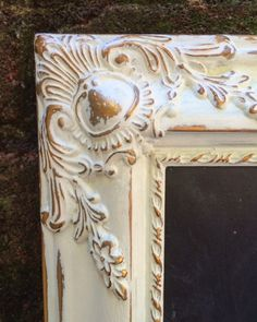 Hand Painted Vintage White and Gold Frame with Custom Chalkboard
