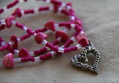 Hot Pink Heart Pendant Necklace. $9.00, via Etsy.
