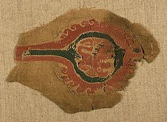 Coptic Tunic Decoration  Egypt  6th to 7th century  Wool and linen.  14 cm. x 10 cm.  Slit tapestry