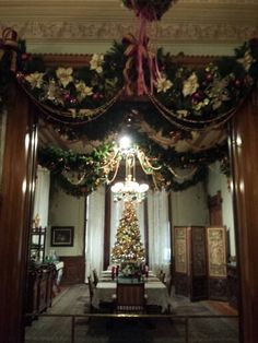 Victorian Christmas decorations at The Glenview Mansion at The Hudson River Museum, Yonkers, NY