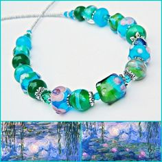 Waterlilies Lampwork necklace, Lampwork Art Glass, Impressionist, Monet, Painter, Floral, European Artisan, Romantic, Classic lampwork, BoHo by MarianneMerceria on Etsy