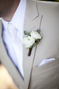 white ranunculus boutonniere