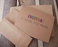 I Love You More  Valentine Card Anniversary Card Kraft by twin2kim, $3.00