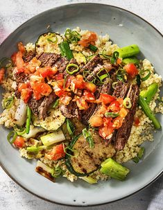 Grilled Mediterranean Steak - Grilled Mediterranean Steak over Bulgur with Zucchini and a Tomato Salsa Easy Steak Recipes, Beef Recipes, Cooking Recipes, Healthy Recipes, Hello Fresh Recipes, Clean Eating, Healthy Eating, Beef Dishes, Healthy Foods