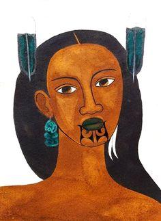 Wahine with Tiki Earring – sold New Zealand Tattoo, New Zealand Art, Nz Art, Art For Art Sake, Abstract Sculpture, Sculpture Art, Metal Sculptures, Bronze Sculpture, Maori Designs